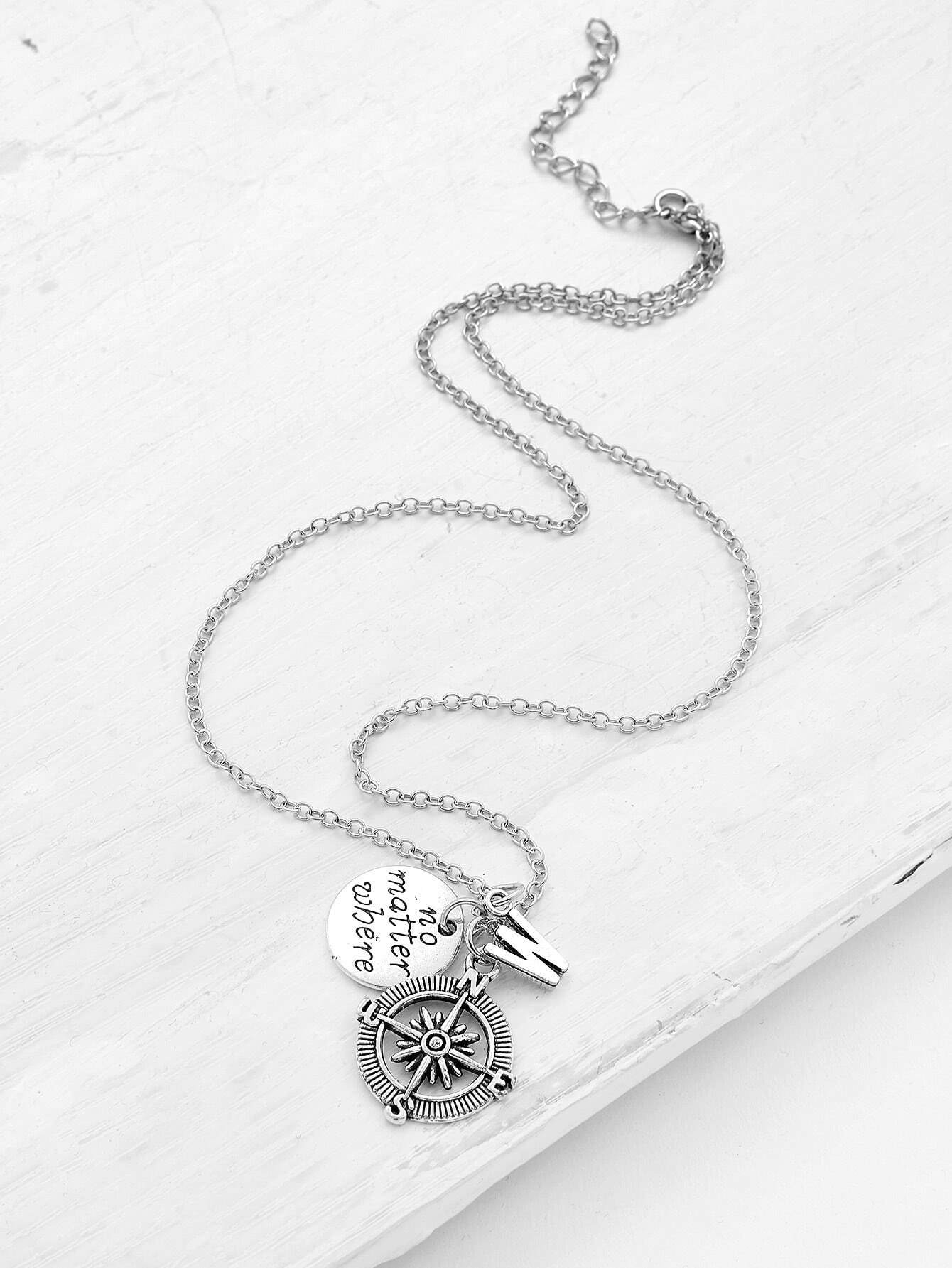 Compass & Letter Pendant Chain Necklace double ring letter link chain pendant necklace