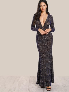 Plunge Neck High Slit Front Flock Velvet Dress