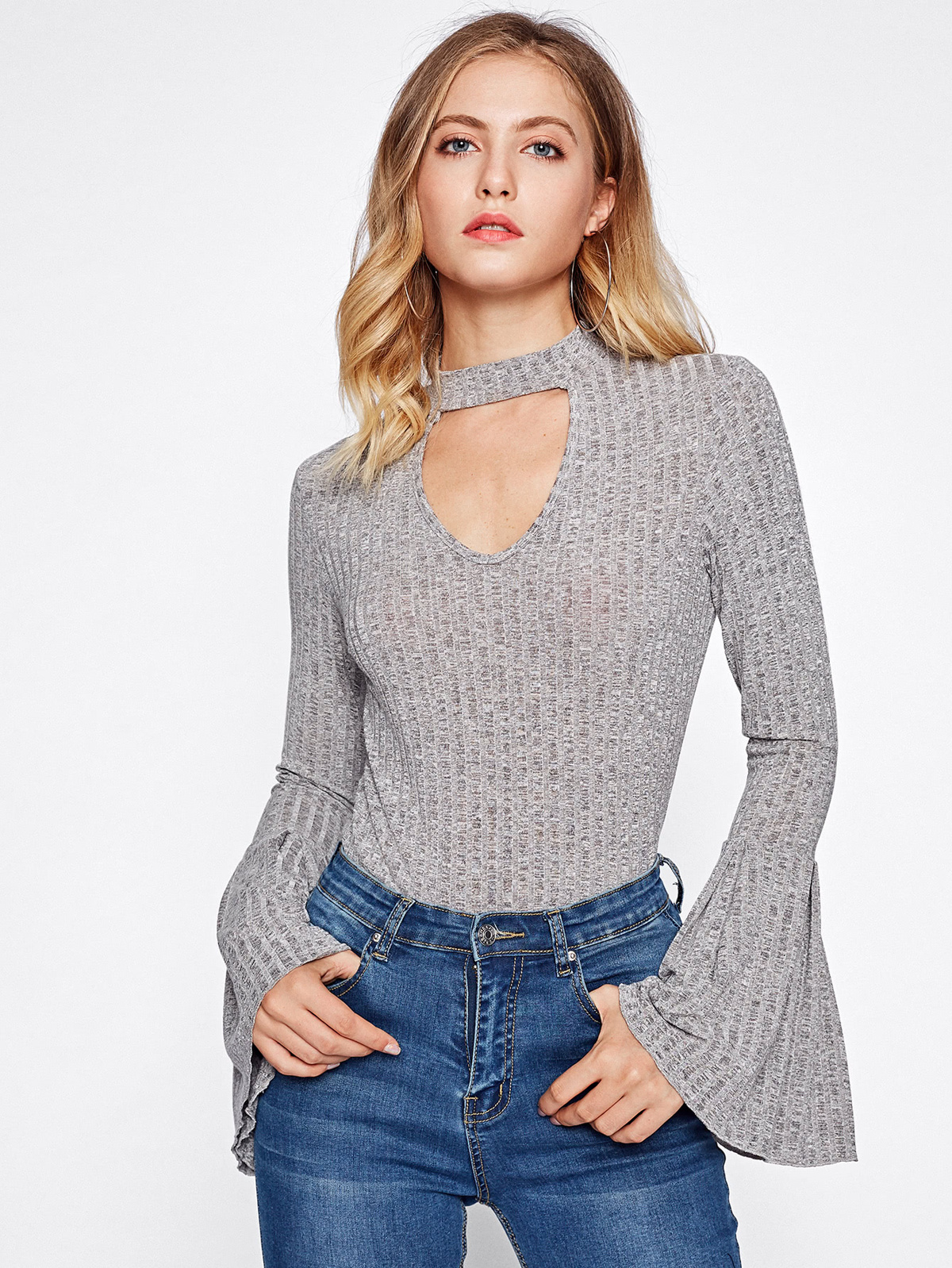 Choker Neck Bell Sleeve Heather Knit Top