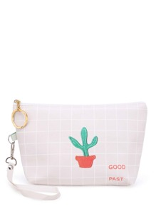 Cactus Pattern Grid Accessory Case With Wristlet