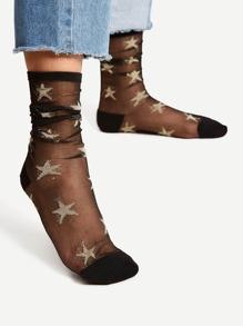 Star Pattern Mesh Ankle Socks