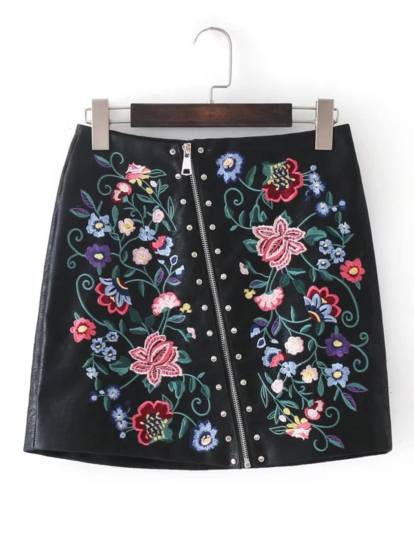 Falda bordada con cremallera oblicua con dise o de for Disenos de faldas