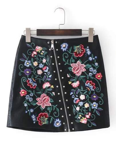 Oblique Zip Studded Detail Embroidered Skirt