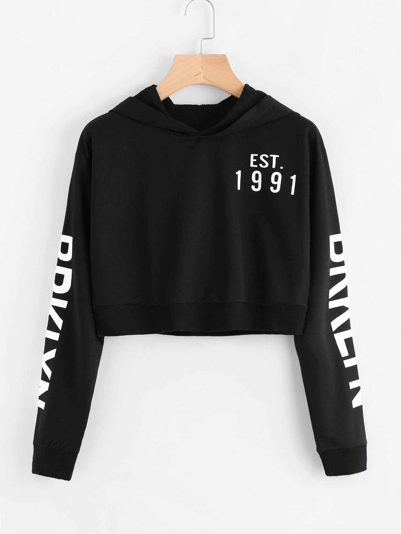 Letter Printed Crop Sweatshirt