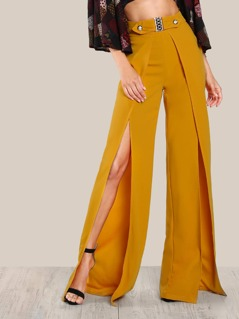 Gold Accents Front Split Pants MUSTARD