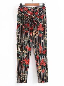 Knot Waist Vertical Striped Floral Pants