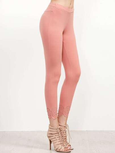 Pink Laser Cut Scallop Hem Leggings