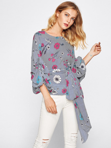 Gathered Sleeve Self Tie Mixed Print Top pictures
