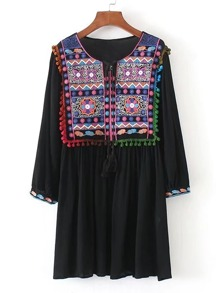 Tassel Tie Neck Pom Pom Trim Embroidery Dress