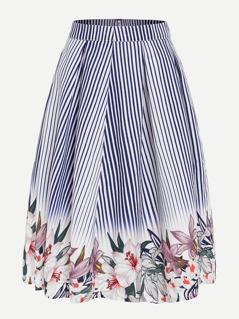 Flower And Stripe Print Volume Skirt