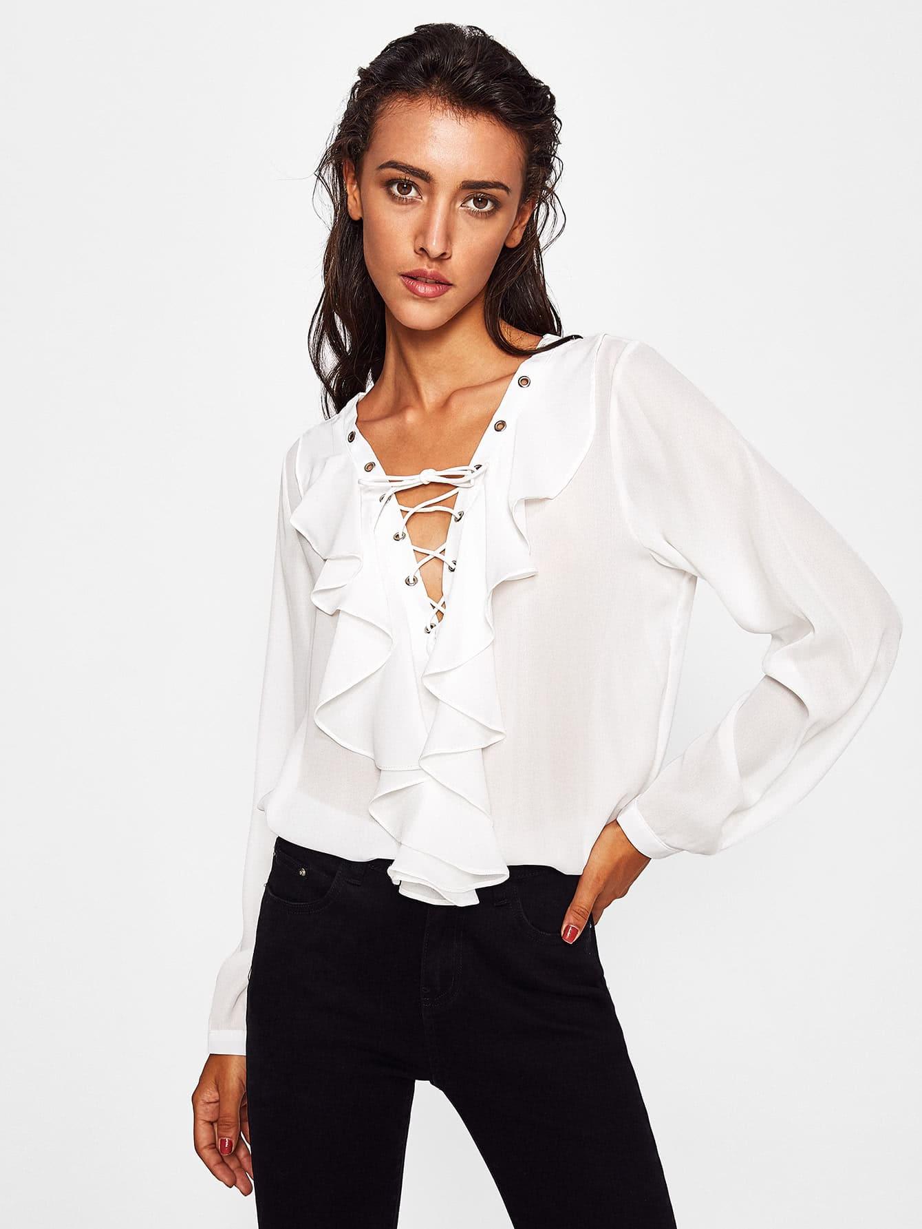 все цены на Criss Cross Front Ruffle Neckline Chiffon Shirt