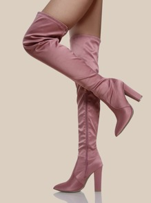 Point Toe Satin Thigh High Boots BLUSH