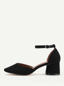 Block Heel Ankle Strap Pumps