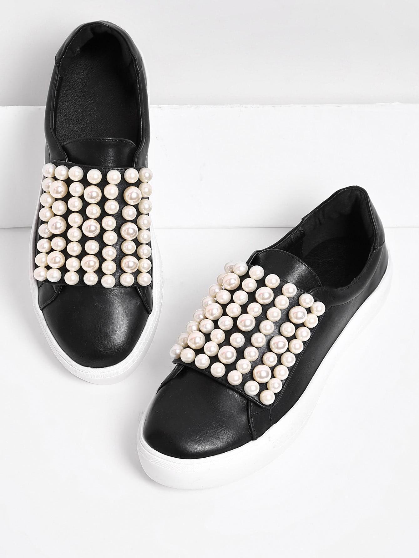 Faux Pearl Slip On Plimsolls faux pearl detail slip on plimsolls