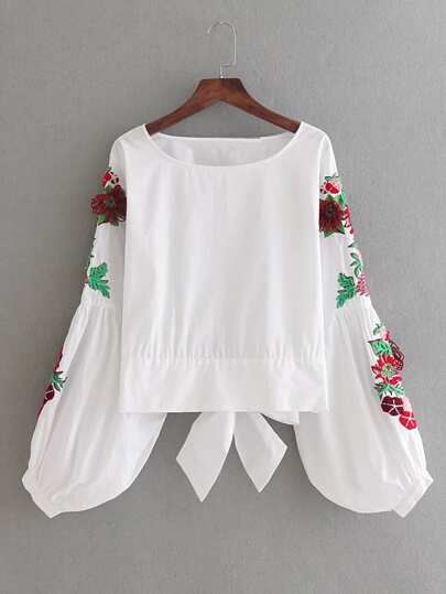 Flower Embroidery Bow Tie Back Top