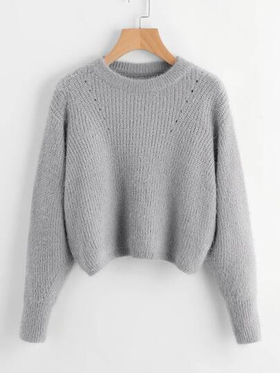 Eyelet Detail Crop Fuzzy Jumper