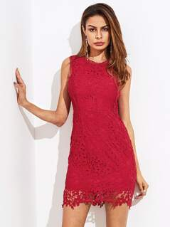 Guipure Lace Overlay Dress