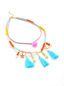 Tassel & Pom Pom Decorated Beaded Necklace
