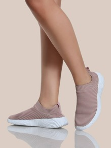 Fly Knit Slip On Sneakers MAUVE