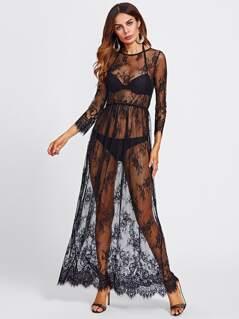 Buttoned Split Back Sheer Floral Lace Dress