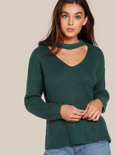 Choker Ribbed Knitted Top TEAL