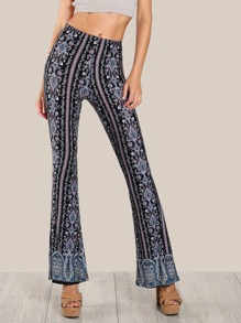 Mix Print Stretchy Pants BLACK