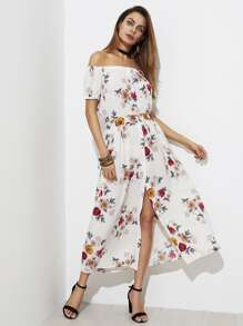 Random Flower Print Bardot Dress