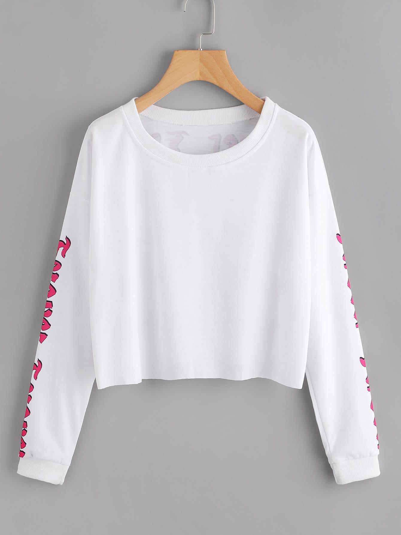 Letter Print Drop Shoulder Raw Hem Crop Sweatshirt
