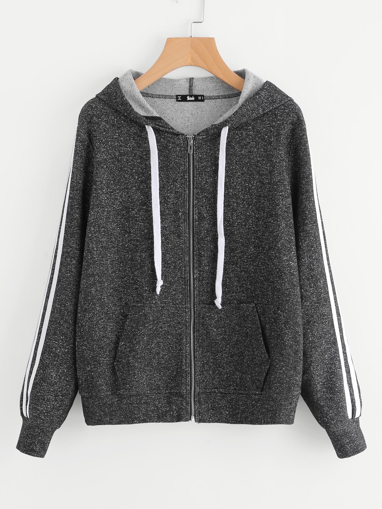 Striped Sleeve Marled Knit Zip Up Hoodie