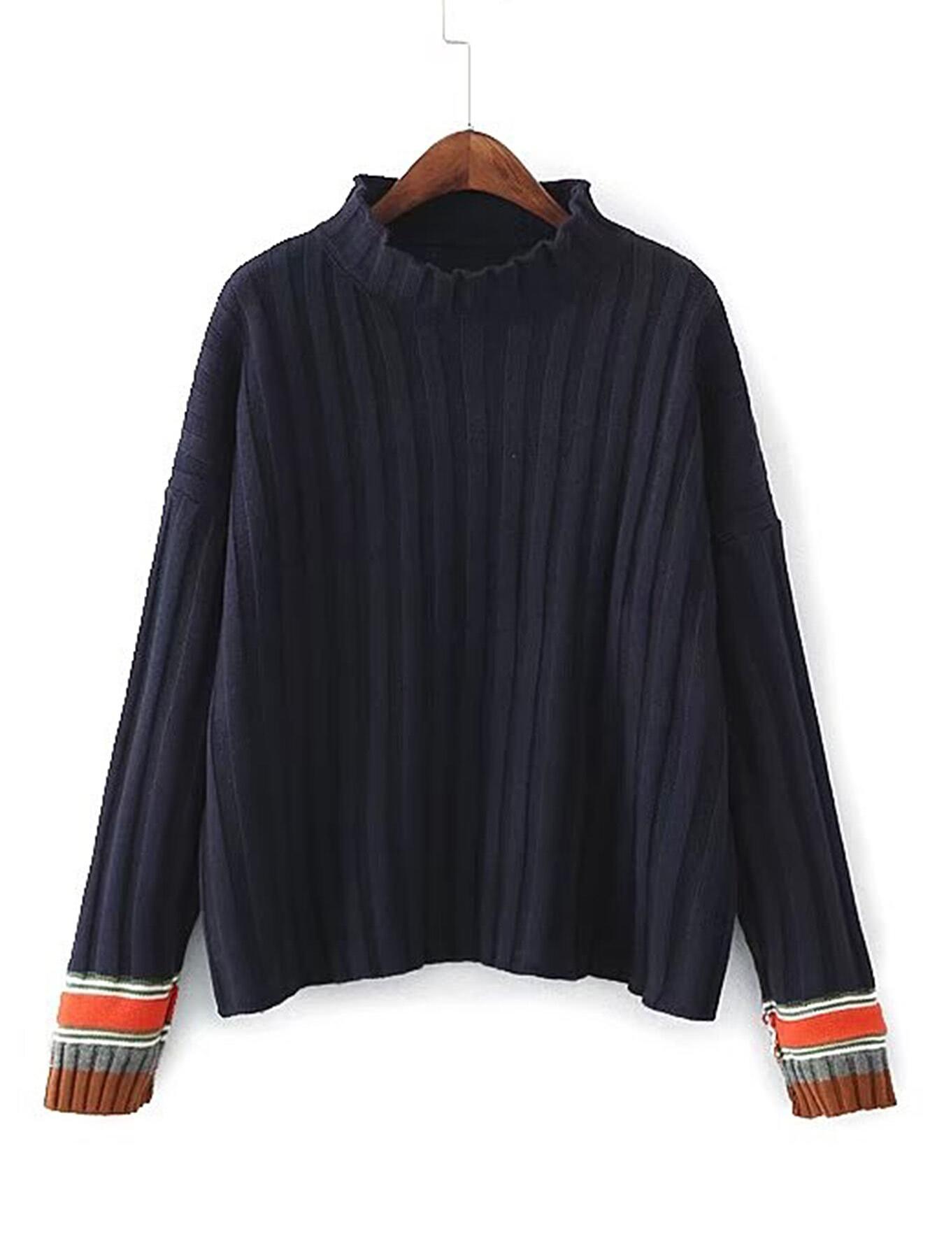 Drop Shoulder Seam Ribbed Trim Sweater