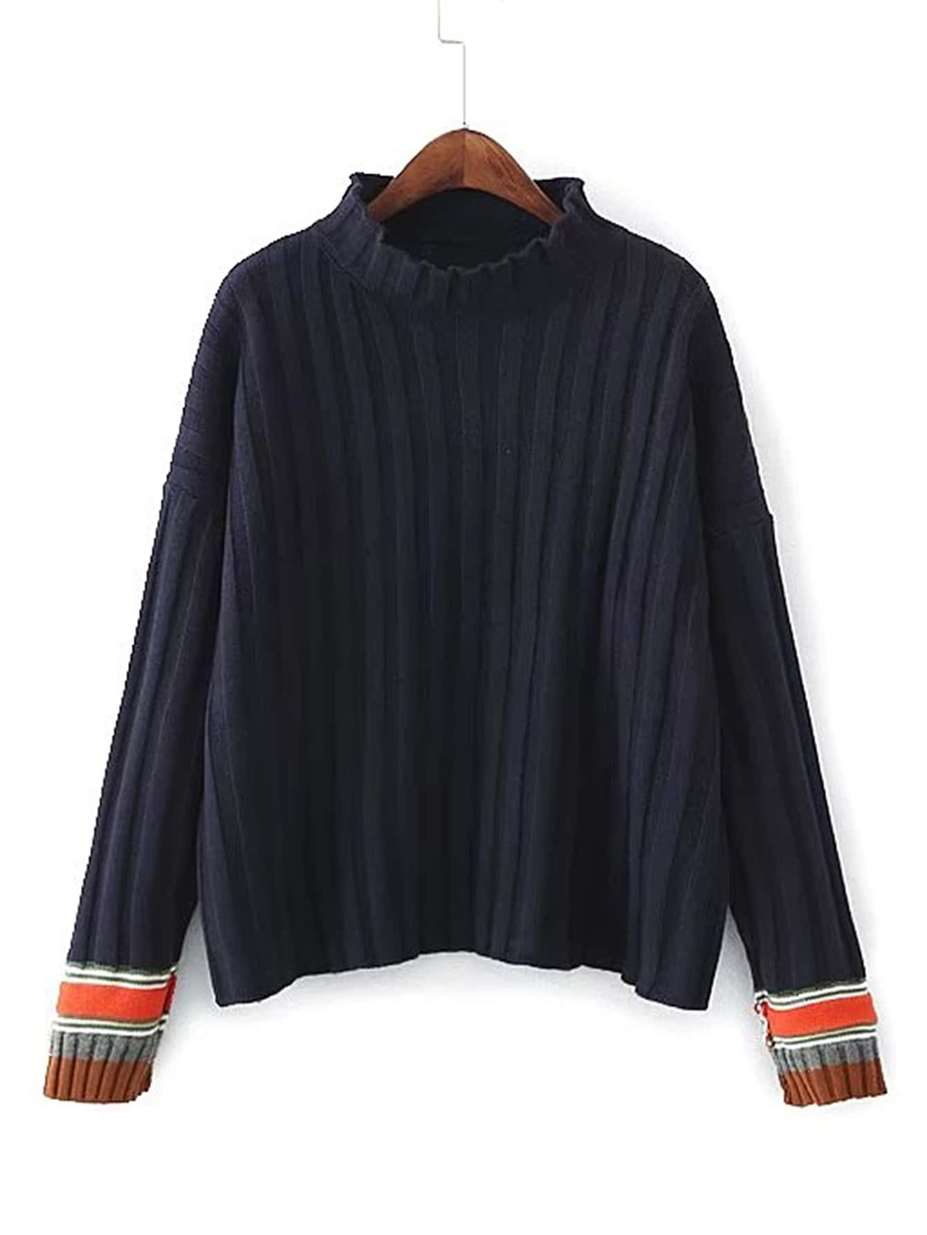 Drop Shoulder Seam Ribbed Trim Sweater