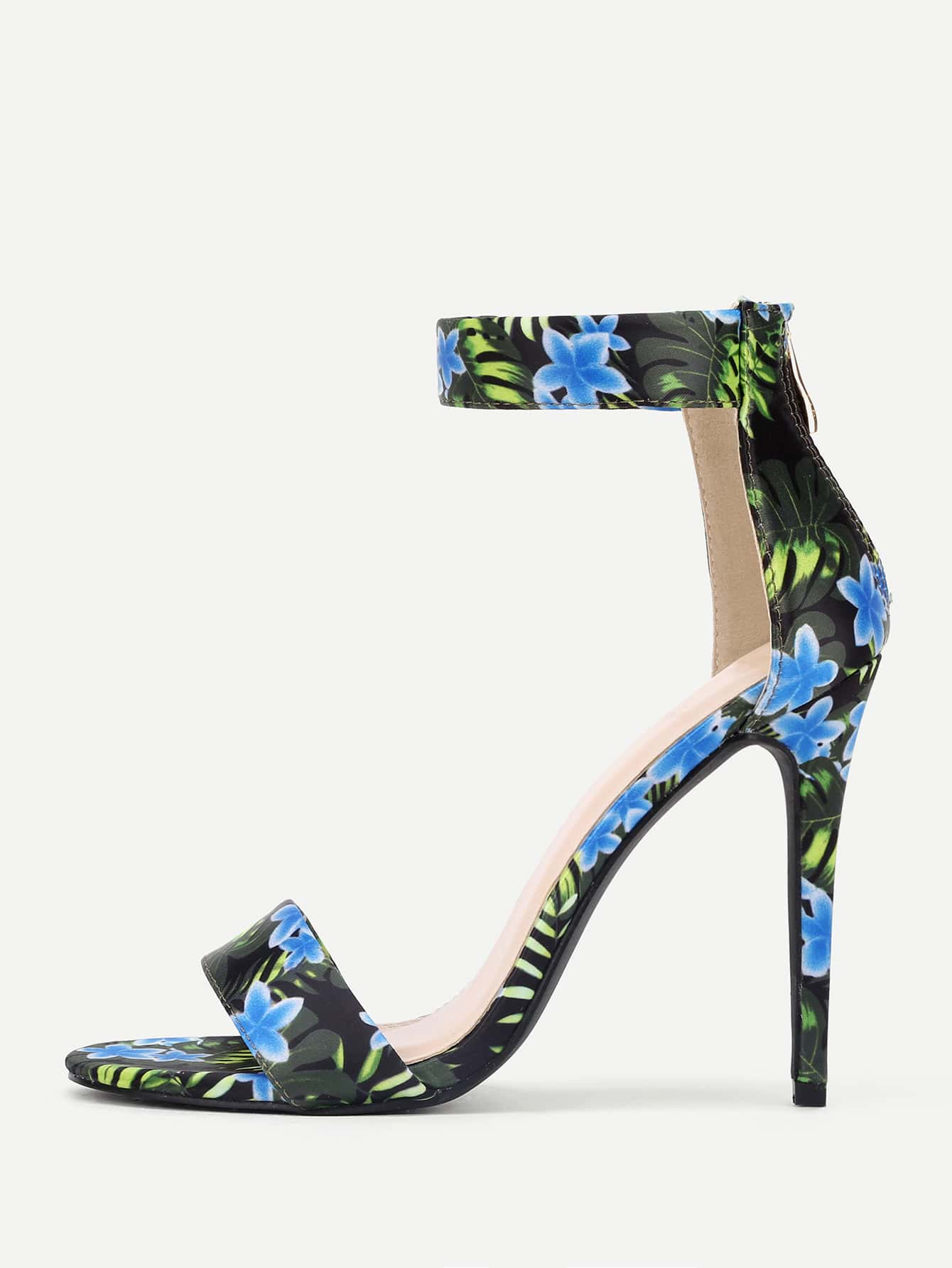 Flower Print Two Part Stiletto Heeled Sandals