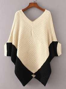 Two Tone Batwing Sleeve Asymmetrical Knit Poncho