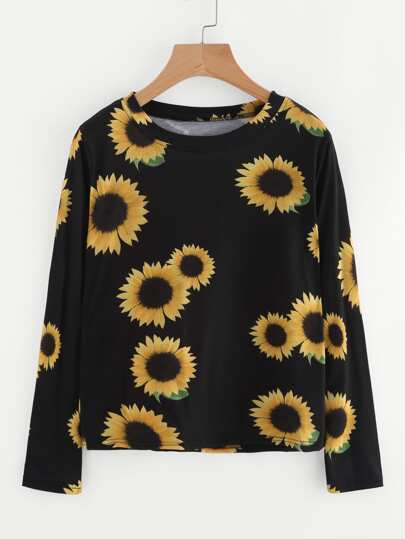 Sunflower Print Random T-shirt