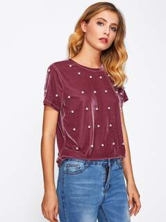 Pearl Beaded Velvet Tee