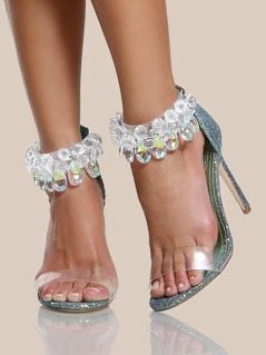 Clear Diamond Studded Strap Glitter Heel MERMAID