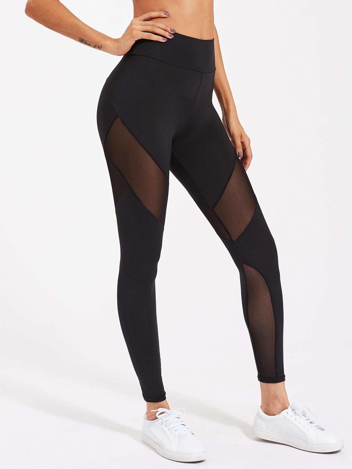 Active Mesh Panel Zip Detail Leggings leggings170803101