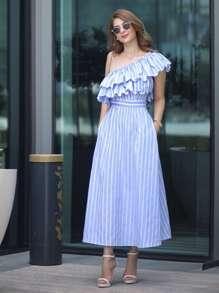 Vestido de rayas un hombro con volantes - azul