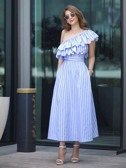 Oblique Shoulder Vertical Striped Layered Frill Dress