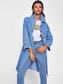 Frayed Edge Longline Denim Coat