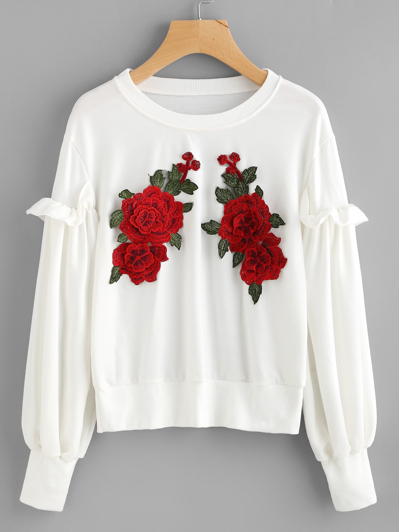 3D Embroidered Appliques Frill Sweatshirt contrast check plaid embroidered appliques sweatshirt