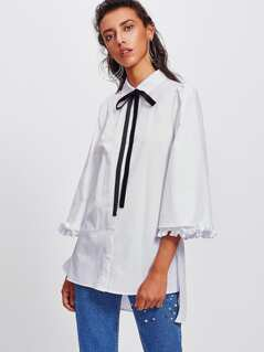 Frill Fluted Sleeve Tie Neck Stepped Hem Shirt