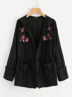 Embroidery Patch Dual Pocket Hoodie Jacket