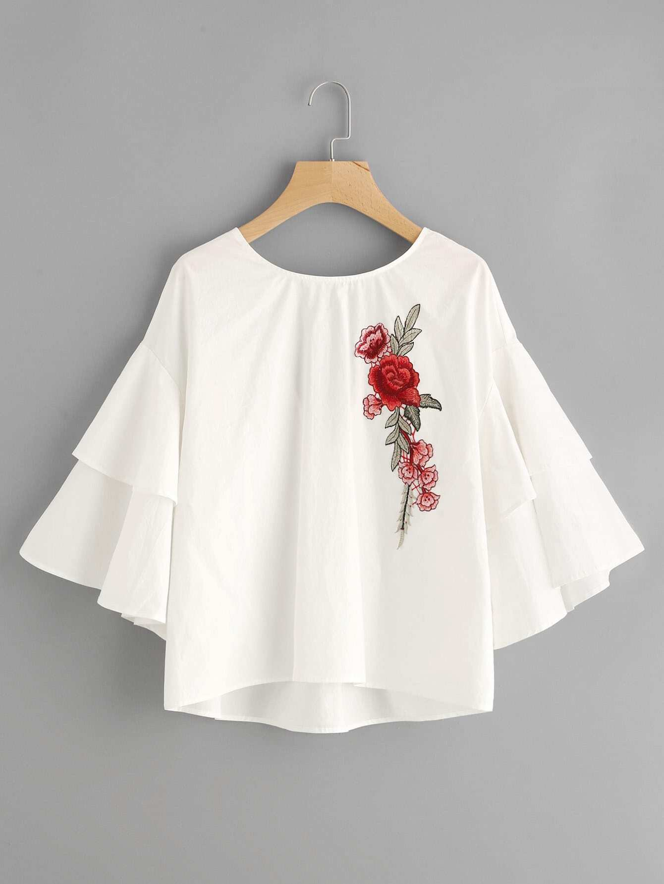 Embroidery Patch Tiered Flute Sleeve Top