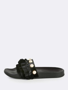 Ruffle Band Slides BLACK