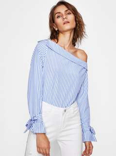 Fold Over Asymmetric Shoulder Tied Cuff Top