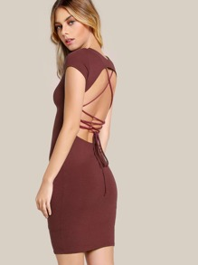 Open Back Lace Up Dress RED BROWN