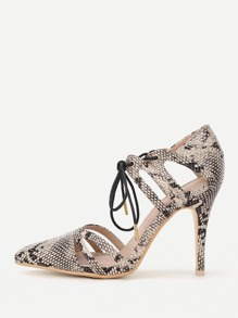 Cut Out Lace Up Snakeskin Print High Heels