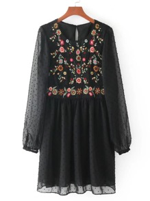 Embroidered Detail Mesh Sleeve Smock Dress