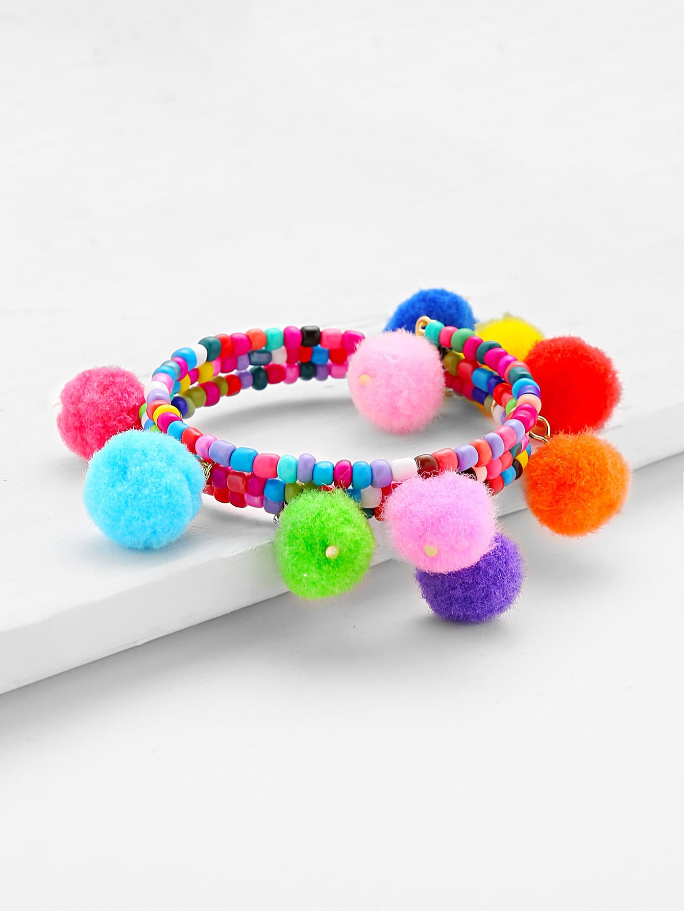 Pom Pom Design Charm Beaded Bracelet